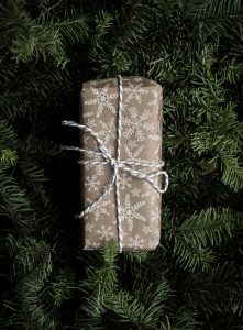 Brown and white wrapped gift on pine